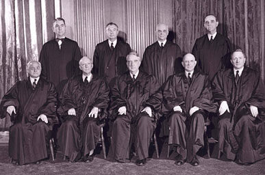 During his 34-year tenure on the U.S. Supreme Court, Justice Hugo L. Black (seated in the front row, second from left) issued opinions on some of the most controversial issues of the 20th century, including freedom of speech, school desegregation and separation of church and state. (From Encyclopedia of Alabama, courtesy of U.S. Supreme Court)