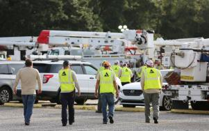 Alabama Power established a staging area for Tropical Storm Gordon at Mobile Greyhound Park in Theodore. (Mike Kittrell / Alabama NewsCenter))