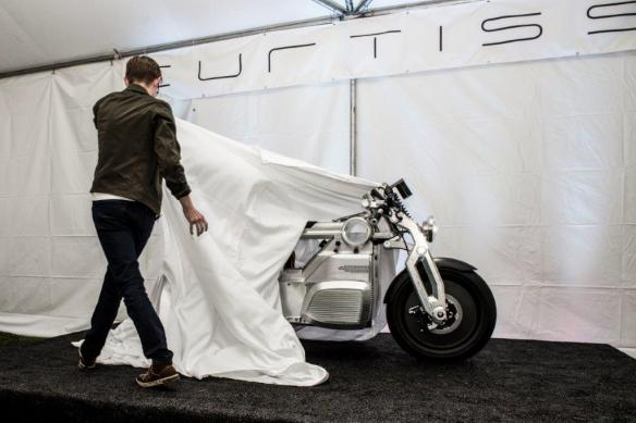 Zeus is unveiled at The Quail Motorsports Gathering in California. (Curtiss Motorcycles)