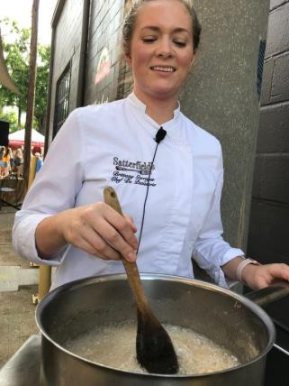Chef Brittany Garrigus of Satterfield's made homemade pear jam and served it with biscuits at the Market at Pepper Place as part of the Les Dames d'Escoffier takeover in September. (Hannah Beasley)