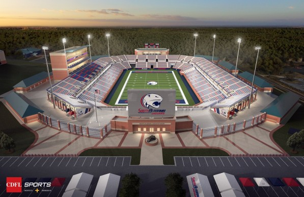 A rendering shows the planned University of South Alabama on-campus football stadium viewed from the south end. (CDFL Sports Architects + Engineers)