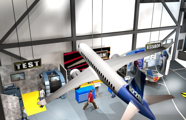 A rendering shows a portion of the planned Flight Works Alabama educational center. (Airbus)