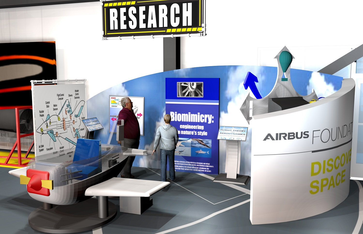 Exhibits will teach students and the public about aspects of aviation. (Airbus)