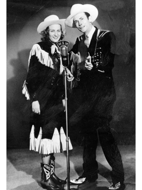 Hank and Audrey Williams, ca. 1950. They married in 1944, and for a time Audrey worked with Hank to promote his career. The couple had a turbulent relationship, which inspired many of Williams's songs. (From Encyclopedia of Alabama, courtesy of Hank Williams Boyhood Home/Museum)