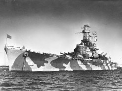 The battleship USS Alabama (BB-60) anchored in Casco Bay, Maine, in December 1942, where its crew trained before deploying to active duty in the North Atlantic in early 1943. (From Encyclopedia of Alabama, U.S. Navy)