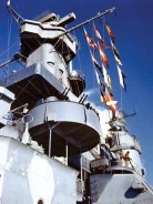 Signal flags fly aboard the battleship USS Alabama (BB-60) in December 1942, before it deployed to active duty in the North Atlantic. (From Encyclopedia of Alabama, U.S. Navy)