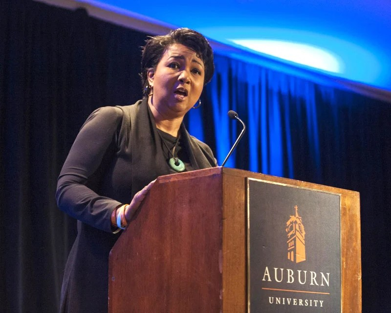 Physician, entrepreneur and former astronaut Mae Jemison delivers the Extraordinary Women Lecture sponsored by Auburn University Outreach and the Tuskegee Auburn Women's Leadership Alliance Symposium at Auburn University in Auburn, Lee County, on Feb. 17, 2016. Jemison was born in Decatur, Morgan County. (From Encyclopedia of Alabama, courtesy of Auburn University)