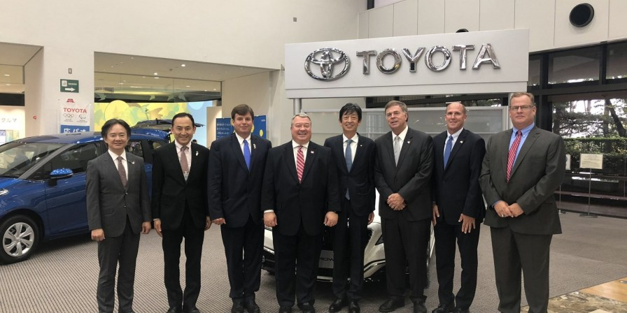Alabama business leaders visit with Toyota executives in the company's Motomachi assembly plant. An Alabama delegation is visiting Japan this week to build on the state's relationship with Toyota and Mazda in advance of the automakers building a $1.6 billion factory in Huntsville. (contributed)