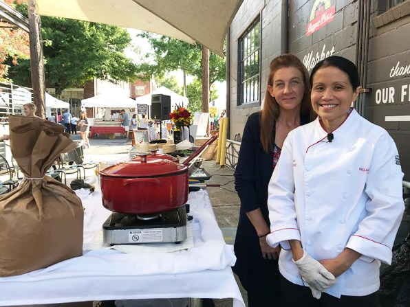 A team member from the Birmingham Chapter of Les Dames d'Escoffier International assisted with the cooking demonstration. (Contributed)