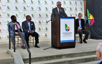 Jefferson County Commissioner Joe Knight speaks at the 1,000-day countdown for the 2021 World Games in Birmingham. (Michael Tomberlin / Alabama NewsCenter)