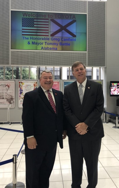 Toyota welcomes Alabama Commerce Secretary Greg Canfield, left, and Huntsville Mayor Tommy Battle to its Motomachi facility during the Alabama group's trip to Japan. (contributed)