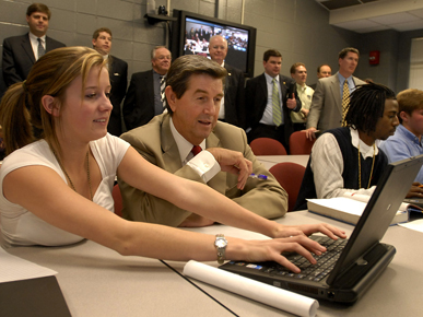 Gov. Bob Riley at an ACCESS (Alabama Connecting Classrooms, Educators and Students Statewide) distance learning demonstration at Prattville High School in Autauga County. (From Encyclopedia of Alabama, courtesy of The Birmingham News)