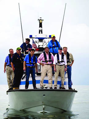 Alabama Gov. Bob Riley, third from right, tours the state's Gulf Coast with Secretary of the Navy Ray Mabus, second from right, during the secretary's tour of Gulf states in response to the BP oil spill in July 2010. (From Encyclopedia of Alabama, courtesy of the U.S. Navy. Photograph by Mass Communication Specialist 2nd Class Kevin S. O'Brien)