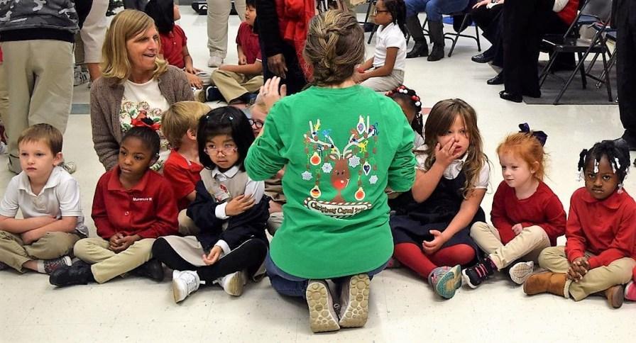 Students wait for Santa. (Joann McKnight/Alabama NewsCenter)