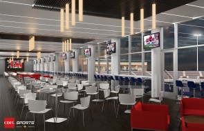 A rendering shows the club section in the planned on-campus football stadium at the University of South Alabama. (CDFL Sports Architects + Engineers)