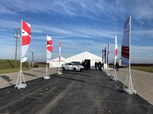 Visitors and officials attend a groundbreaking ceremony for the Mazda Toyota plant in Huntsville. (Dennis Washington/Alabama NewsCenter)