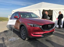 A Mazda CX-5 sits outside the tent where officials are holding a groundbreaking ceremony for the Mazda Toyota manufacturing plant in Huntsville. (Dennis Washington/Alabama NewsCenter)