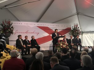 "Mazda executive Kiyotaka Shobuda talks about the future for Mazda Toyota Manufacturing USA in 'sweet home Alabama"" during a groundbreaking ceremony. (contributed)"