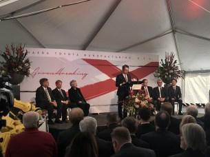 "Mazda executive Kiyotaka Shobuda talks about the future for Mazda Toyota Manufacturing USA in 'sweet home Alabama"" during a groundbreaking ceremony. (contributed)"