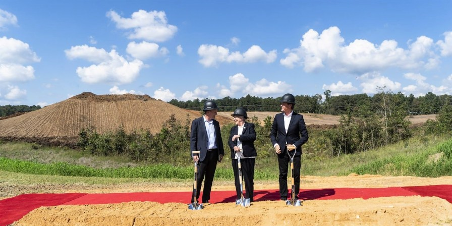 Gov. Kay Ivey and Mercedes-Benz officials hold a groundbreaking ceremony for a Mercedes battery plant in Bibb County. (contributed)