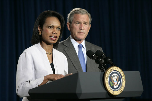 U.S. Secretary of State Condoleezza Rice answers questions on the Middle East crisis with President George W. Bush on August 7, 2006. (Photograph by Eric Draper, Wikipedia)