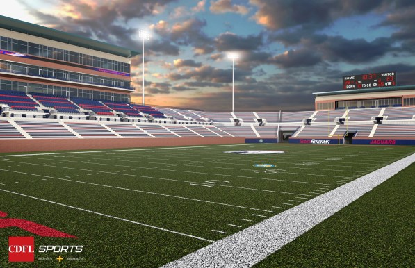 A rendering shows the planned on-campus football stadium at the University of South Alabama from the southeastern corner of the field. (CDFL Sports Architects + Engineers)