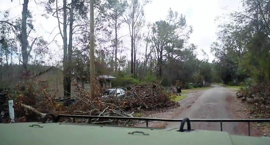 Gary Griffin drives through the town of Gordon in Houston County, where Hurricane Michael left much of the population in need of help. (Karim Shamsi-Basha/Alabama NewsCenter)