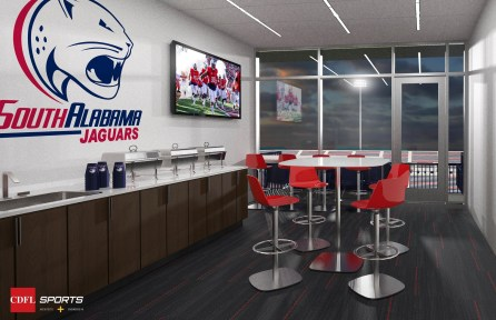 A rendering shows a suite in the planned on-campus football stadium at the University of South Alabama. (CDFL Sports Architects + Engineers)
