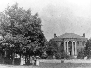 Courtview, shown here in a photo from the 1880s or 1890s, is a brick Greek Revival-style mansion in Florence, Lauderdale County, that was built for industrialist and planter George Washington Foster and his family. Some historians believe it was designed by Adolphus Heiman, a noted architect from Nashville, Tennessee. (From Encyclopedia of Alabama, photo courtesy of the University of North Alabama)