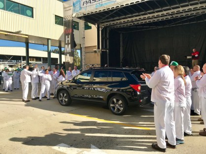 Honda's Alabama workers welcome the new Passport SUV at a debut celebration at the automaker's plant in Talladega County on Thursday. (contributed)