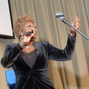 Comedian Mrs. V provided laughs as the program emcee. (Jerome Smedley)