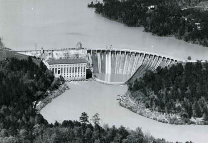 Aerial photograph of Martin Dam. (Alabama Power Company Archives)