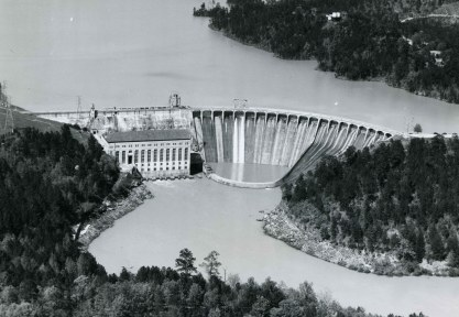 Aerial photograph of Martin Dam. (Alabama Power Company Archives)
