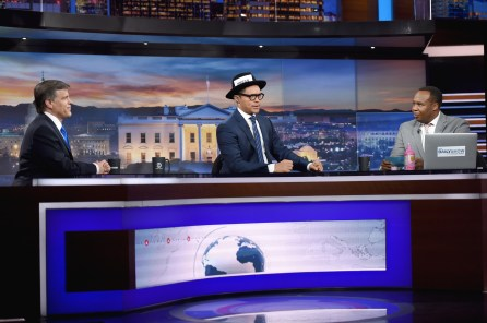 """Douglas Brinkley, Trevor Noah and Roy Wood Jr. on """"The Daily Show with Trevor Noah"""" live one-hour """"Democalypse 2016"""" Election Night special on Nov. 8, 2016 in New York City. (Photo by Jason Kempin/Getty Images for Comedy Central)"""