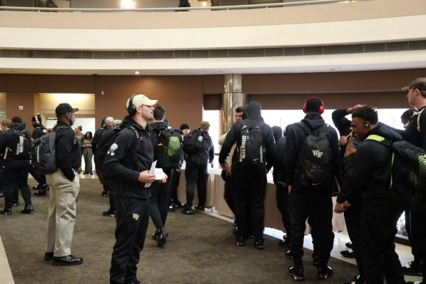 The Wake Forest football team arrives for the Birmingham Bowl. (Birmingham Bowl)