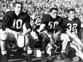 University of Alabama football players, from left, Bart Starr, Ralph Corrigan and Bobby Marlow on the sidelines during the 1953 Orange Bowl in which the Crimson Tide defeated Syracuse University, 61-6. (From Encyclopedia of Alabama, courtesy of Paul W. Bryant Museum, University of Alabama)