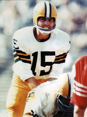Bart Starr played for the Green Bay Packers of the National Football League from 1956-71, leading the team to victories in the first two Super Bowls. After retiring from play, Starr remained with the organization and was the head coach of the Packers from 1975-83. (From Encyclopedia of Alabama, courtesy of Alabama Sports Hall of Fame)