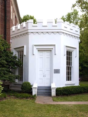 The Round House, which stands on the University of Alabama campus in Tuscaloosa, is one of only four pre-Civil War buildings that stand on the grounds. Formerly a guard house, it is now a memorial to the university's honor societies. It is also known as Jason's Shrine, after The Jasons, a men's honor society at UA. (From Encyclopedia of Alabama, courtesy of The George F. Landegger Collection of Alabama Photographs in Carol M. Highsmith's America, Library of Congress, Prints and Photographs Division)