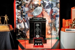 The 2012 National Championship trophy on display in the Bryant Museum. (Paul W. Bryant Museum)