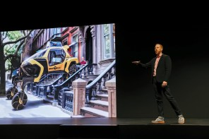 David Byron, industrial design manager of Sundberg-Ferar Inc., speaks at the Hyundai Motor Co. presentation. (Patrick T. Fallon/Bloomberg)