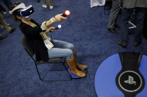 The 3dRudder foot-motion controller is demonstrated with a Sony Corp. PlayStation virtual-reality headset for a photograph during the CES Unveiled event. (Patrick T. Fallon/Bloomberg)