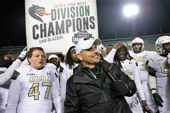 UAB celebrates winning the C-USA West Division Championship vs. Southern Mississippi on Nov. 10 at Legion Field. (Jimmy Mitchell/UAB)