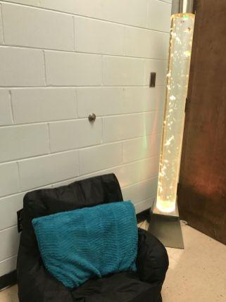 A comfy bean bag chair lets kids relax. (Donna Cope/Alabama NewsCenter)