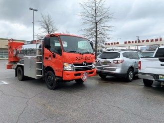 FuelFox makes a fueling stop in a parking lot next to Innovation Depot. (file)