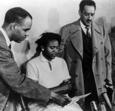 Roy Wilkins, in a news conference with Autherine Lucy and Thurgood Marshall, director and special counsel for NAACP Legal Defense and Education Fund, March 2, 1956. (Library of Congress, Wikipedia)