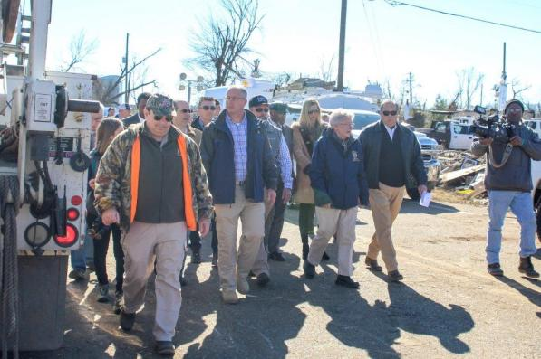 Alabama Gov. Kay Ivey toured tornado-damaged areas of Wetumpka with Mayor Jerry Willis. (Justin Averette / Alabama NewsCenter)
