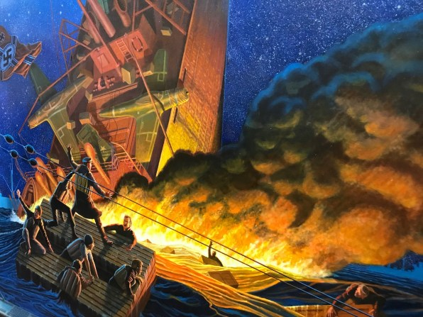 """A detail from Dean Mosher's """"Tribute to the Merchant Marine,"""" one of two new murals among the nine currently on exhibit at the Eastern Shore Art Center. (Dan Bynum/Alabama NewsCenter)"""