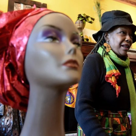 Shirley Ferrill talks about her business, Ferrill African Wear, in the 4th Avenue District in Birmingham. (Mark Almond)