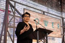 Journalist April Ryan delivers the keynote address at the Power of Culture and Contribution luncheon at The Theodore in the Lakeview neighborhood in downtown Birmingham. (Christopher Jones / Alabama NewsCenter)