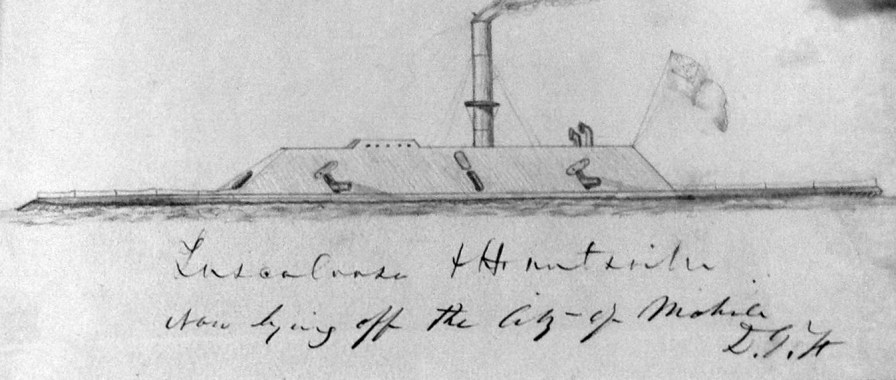 Sketch of CSS Tuscaloosa and the CSS Huntsville, 1864. (NARA, Wikipedia)